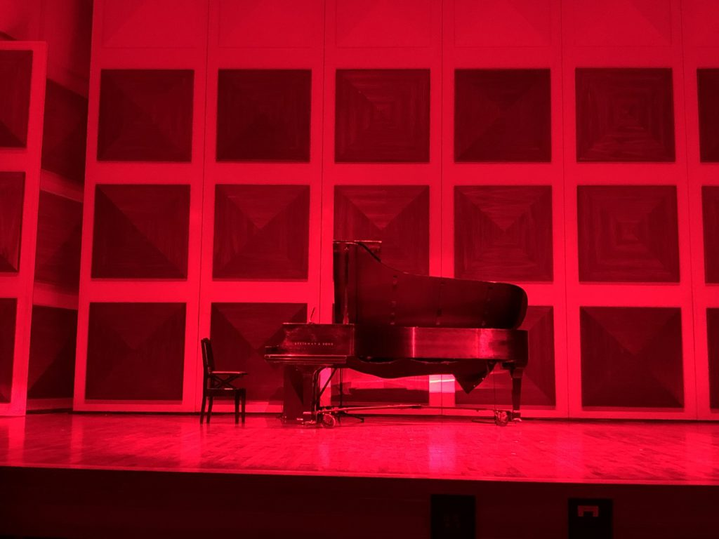 Maureen Forrester Recital Hall with red lighting