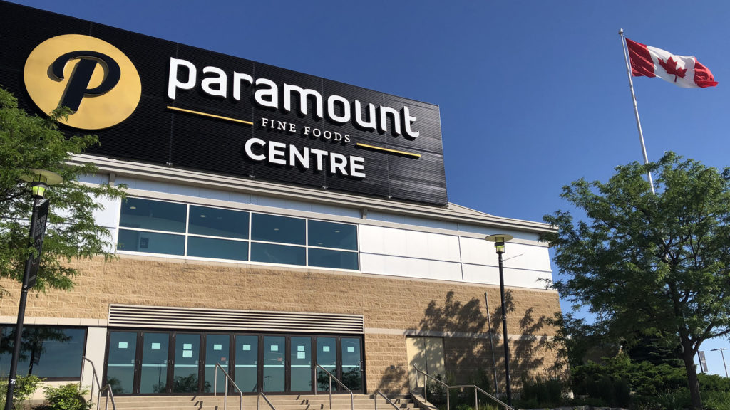 Paramount Fine Foods Centre building exterior with Canadian flag